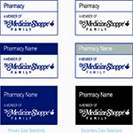 medicine shoppe logo samples in color and black/white