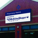 blue and white Medicine Shoppe sign
