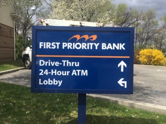 First Priority Bank wayfinding exterior directional signage by Egan Sign