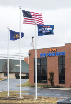 3 Flag Poles at Mid Penn Bank