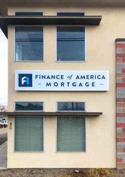 Finance of America Sign Cabinet