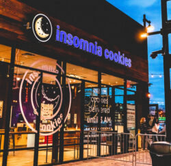 Insomnia Cookies Franchise Signs at Night